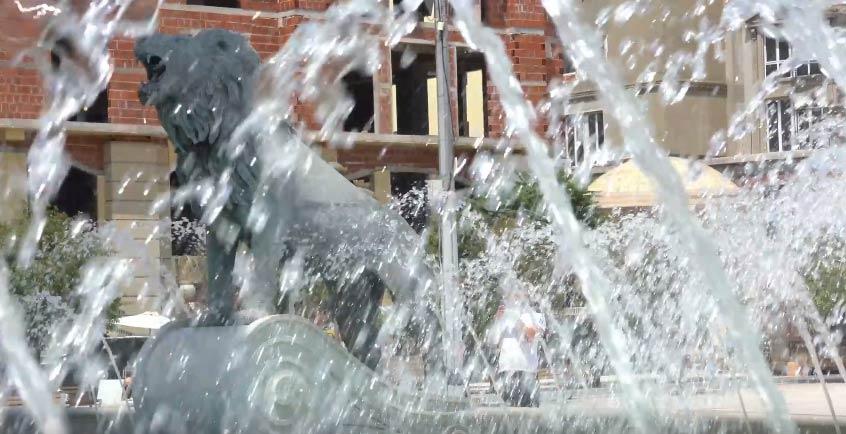 Фотографија од фонтана на центарот на Скопје.